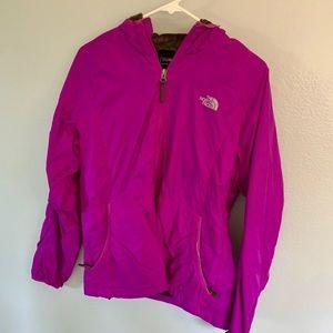 Purple fur lined north face rain jacket